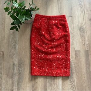 """Tory Burch Red """"Printed Twill Pencil Skirt"""""""